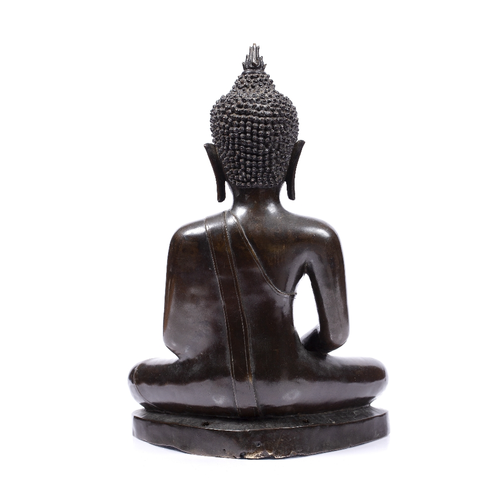 A LARGE BRONZE BUDDHA seated upon a stepped base with holes for attachment to a larger architectural - Image 3 of 5