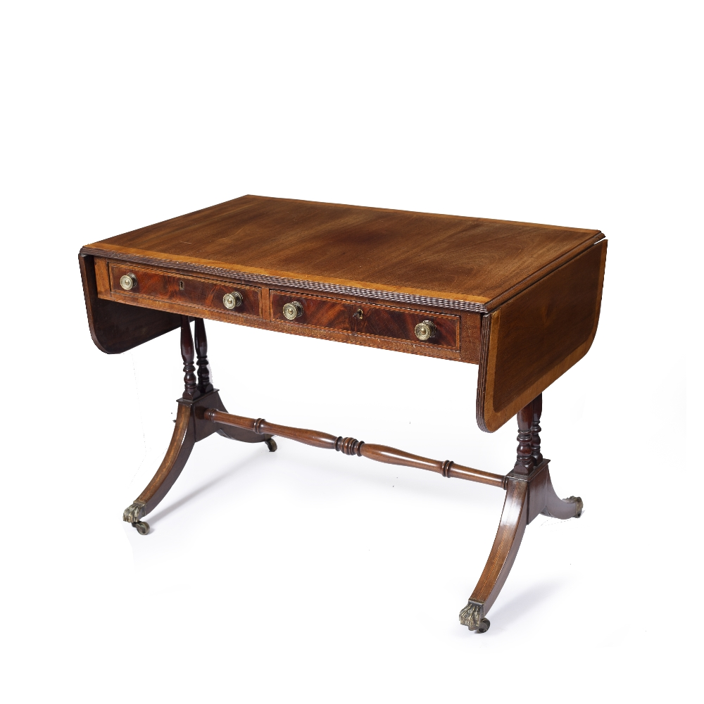 A REGENCY MAHOGANY SOFA TABLE, the top with a satinwood banded edge above two frieze drawers, twin - Image 3 of 4