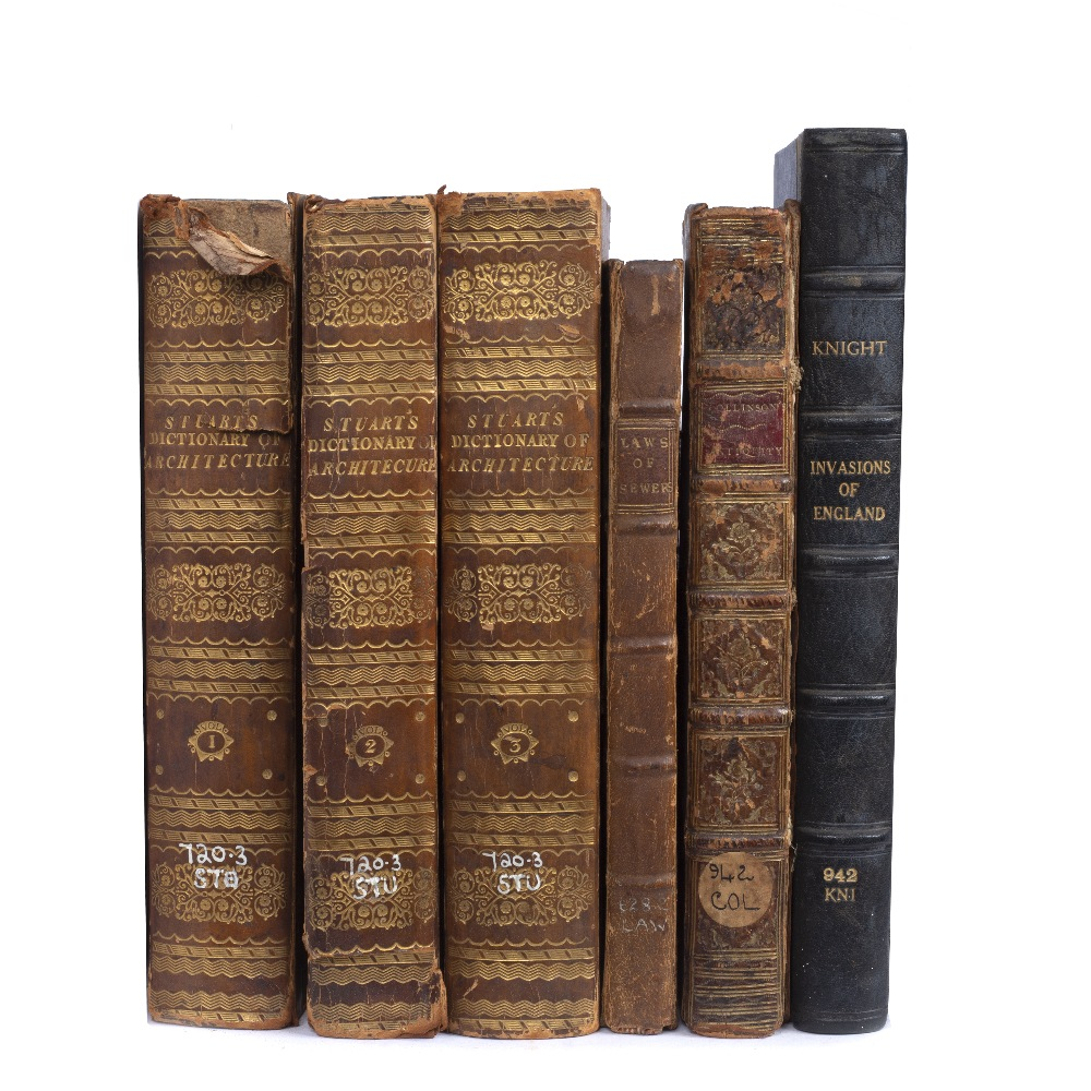 STUART, Robert, A Dictionary of Architecture. 3 vols. Jones, London nd. c1830 (218 x 140mm). 1/2
