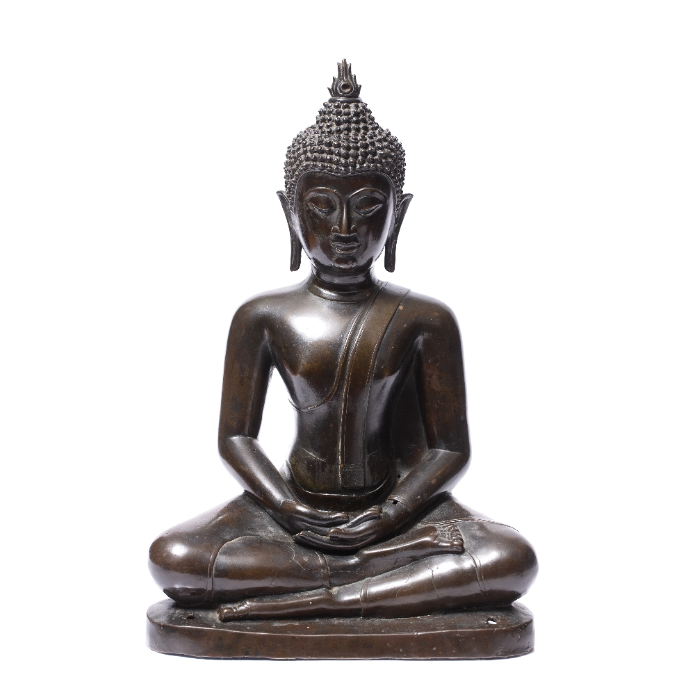 A LARGE BRONZE BUDDHA seated upon a stepped base with holes for attachment to a larger architectural - Image 2 of 5