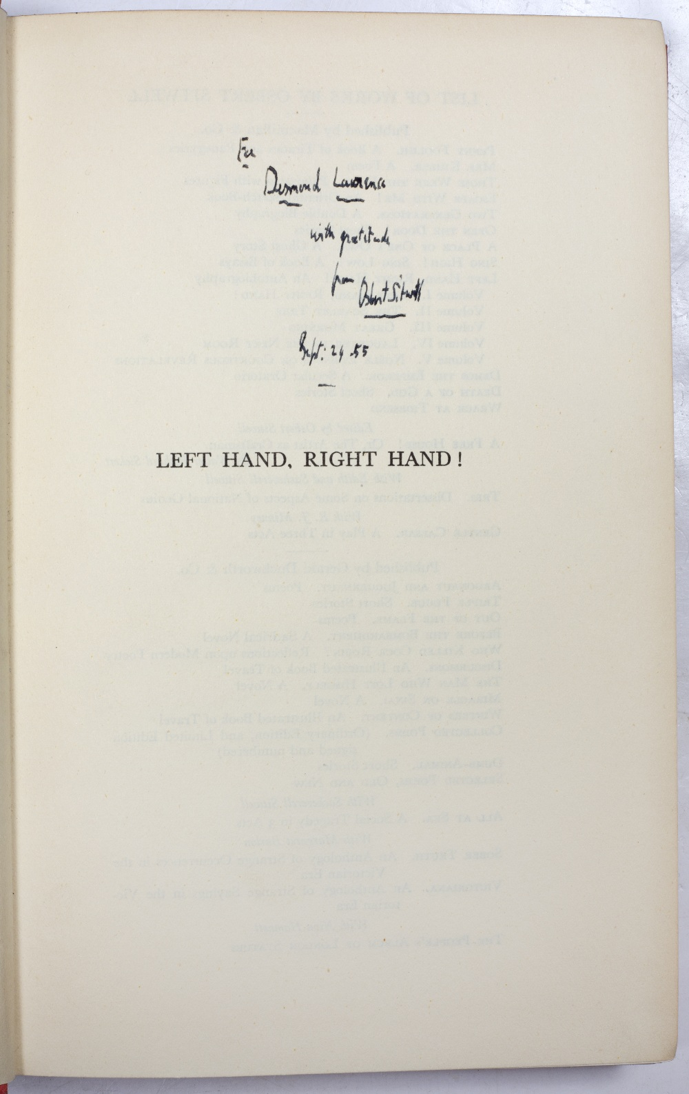 SITWELL, Osbert (1892-1969), English Writer Left Hand, Right Hand, An Autobiography in Five - Image 2 of 3