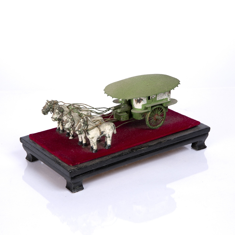"A CHINESE MINIATURE PAINTED WOOD AND METAL FOUR HORSEDRAWN CARRIAGE mounted on a stand, 8"" long - Image 4 of 4"