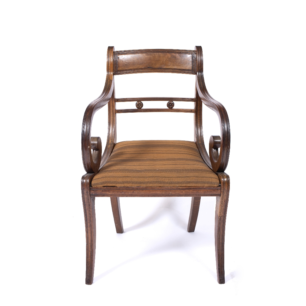 A REGENCY MAHOGANY OPEN ARM ELBOW CHAIR, the horizontal centre rail with carved florettes, - Image 3 of 4