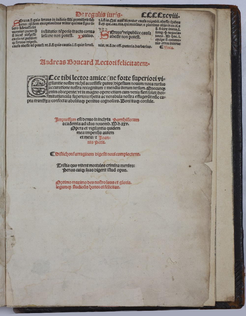 BOUCARD, ANDREAS (Ed.), Justinian, Digestorum Seu Pandectar, Joannis Petit, Paris 1525. 12 books - Image 4 of 5