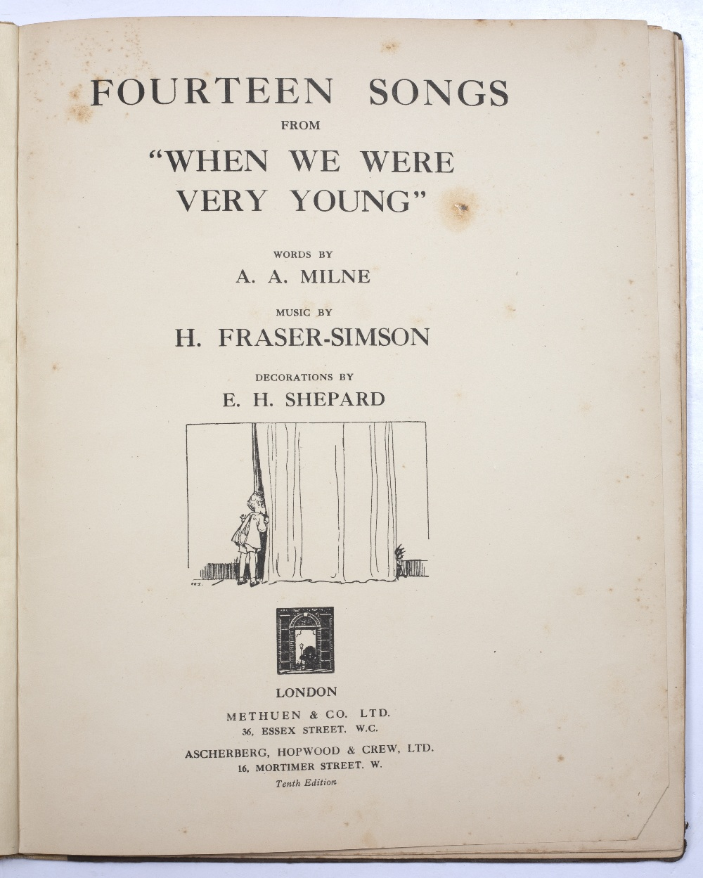 MILNE, A.A. 'Fourteen Songs from When We Were Very Young' music by H Fraser-Simson, E.H. Shephard. - Image 2 of 3
