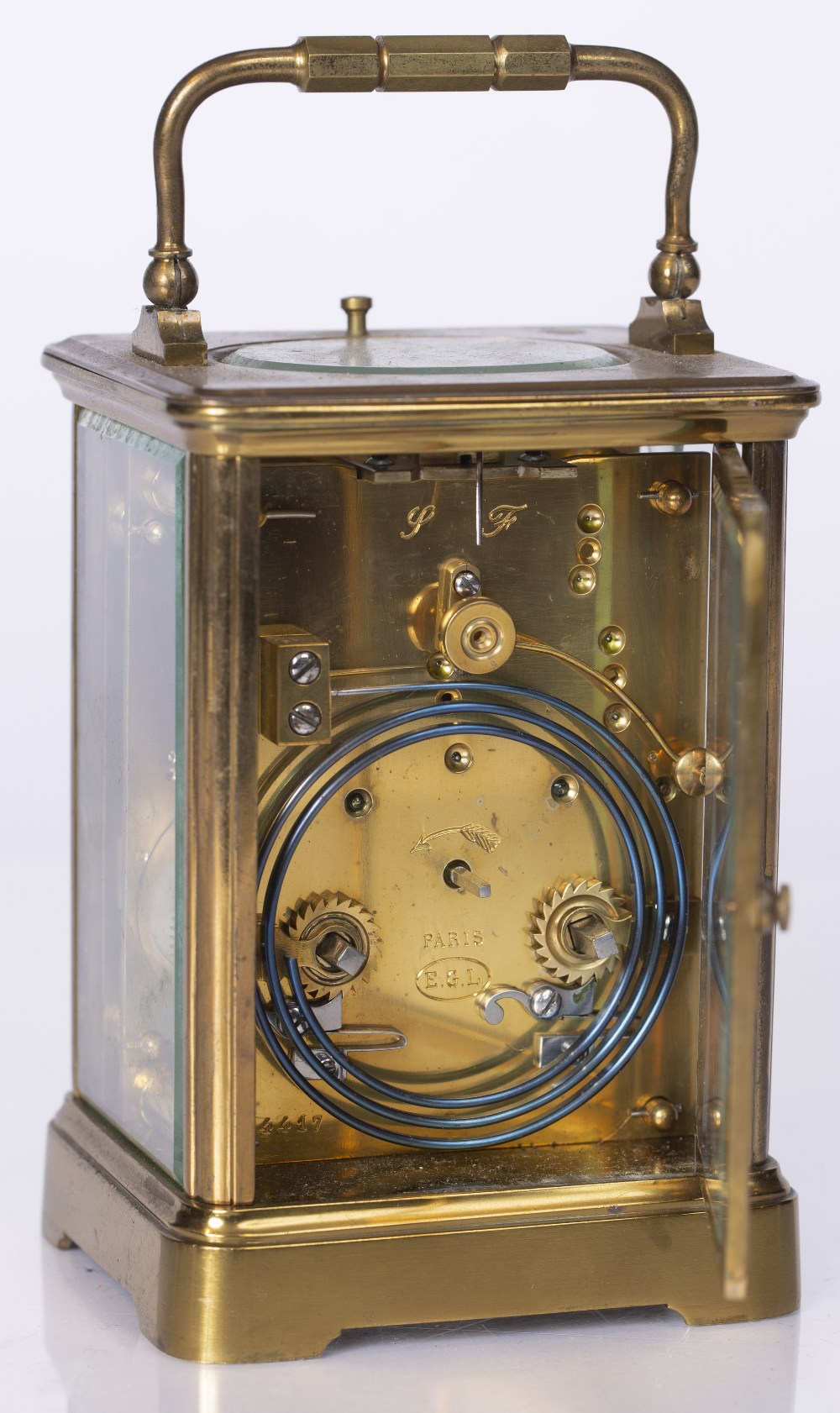 A LATE 19TH CENTURY FRENCH CARRIAGE CLOCK with white enamel Roman dial, silvered platform lever - Image 2 of 3