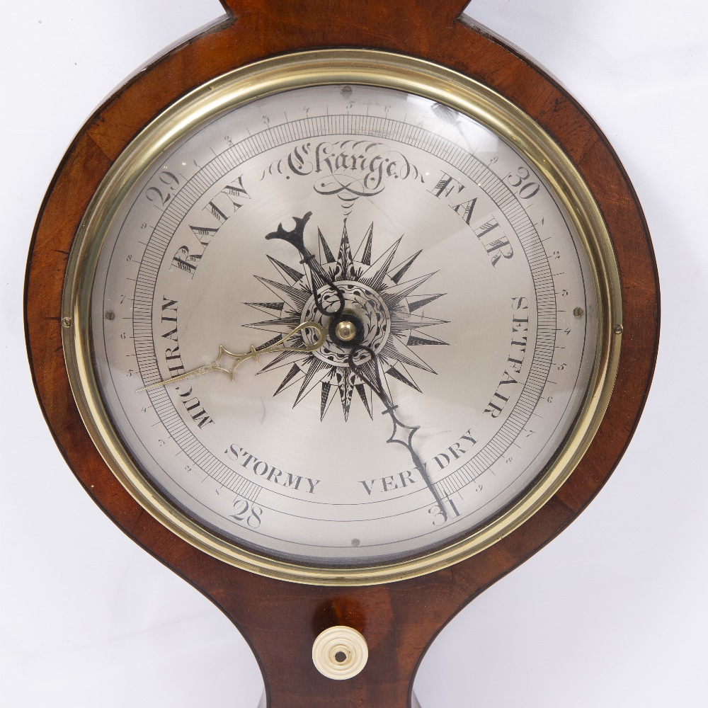A 19TH CENTURY BANJO WHEEL BAROMETER with swan neck cornice above hygrometer, alcohol thermometer - Image 3 of 3