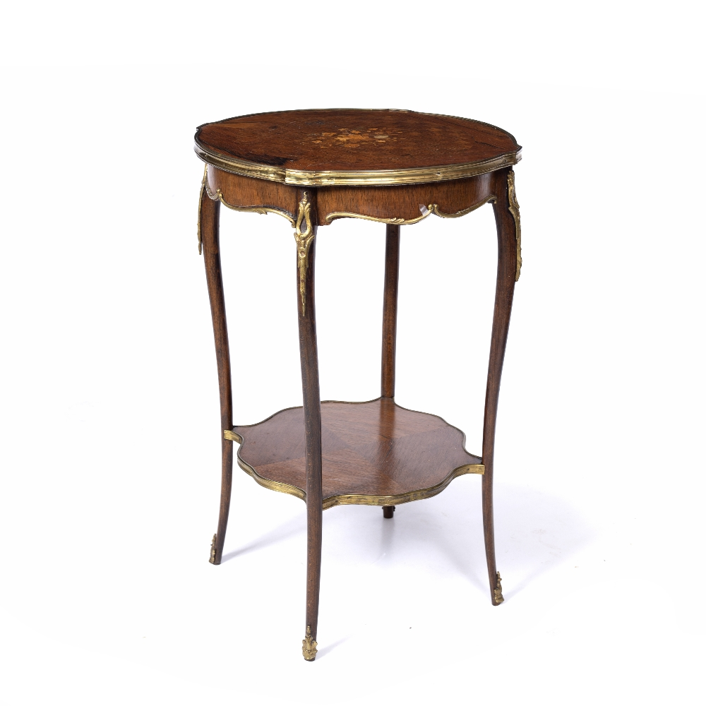 A LOUIS XV STYLE ROSEWOOD AND BEECHWOOD TWO TIER SHAPED CIRCULAR OCCASIONAL TABLE, the top inlaid