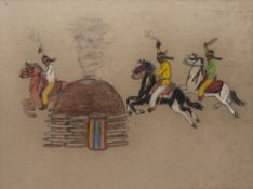 THREE AMERICAN NATIVE INDIAN PASTEL STUDIES of figures on horseback and ceremonial dance, probably