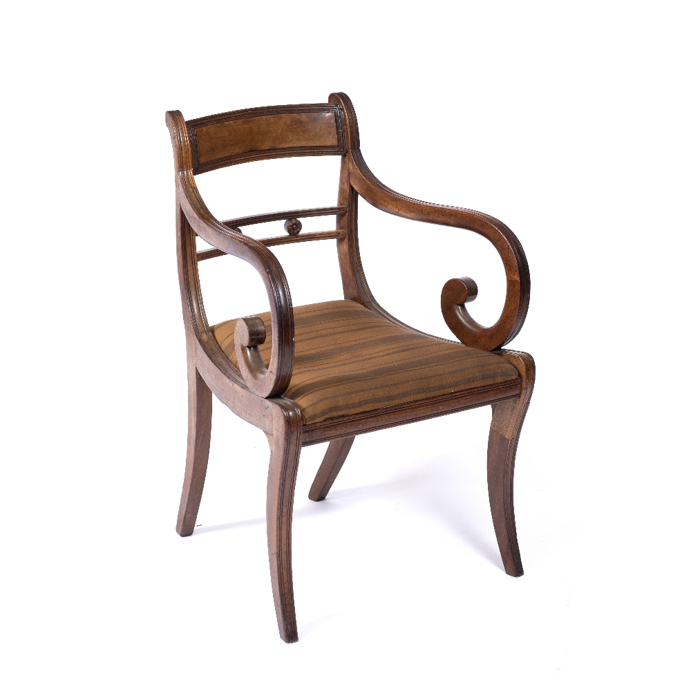 A REGENCY MAHOGANY OPEN ARM ELBOW CHAIR, the horizontal centre rail with carved florettes, - Image 2 of 4