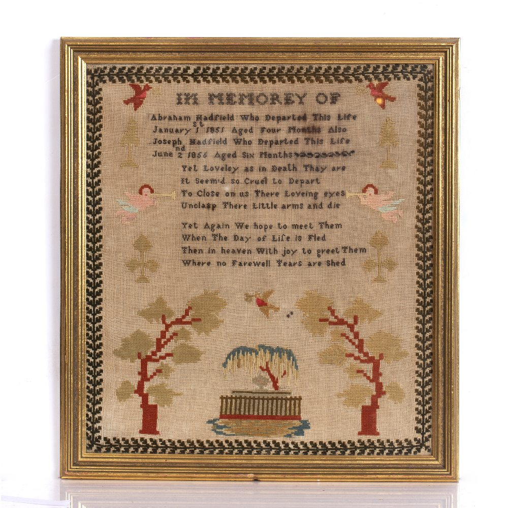 A VICTORIAN NEEDLEWORK SAMPLER by Jane Beach, 1870 in a crossover frame, two further examples and - Image 3 of 8