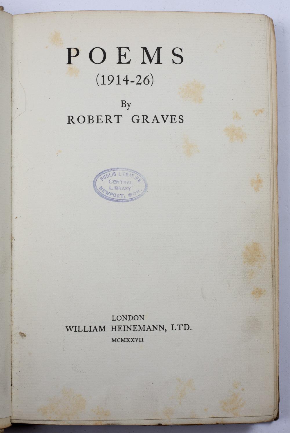 GRAVES, Robert (1895-1985), English Poet Poems (1914-1926), Heinemann, London 1927. B/w speckled - Image 2 of 3