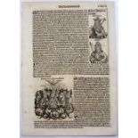THREE FOLIO DOUBLE SIDED PAGES FROM LIBER CHRONICARUM OR NUREMBERG CHRONICLE headed Serta Etas