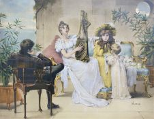 AFTER M GOODMAN A musical interlude, monochrome print with hand-colouring, 52 x 68cm