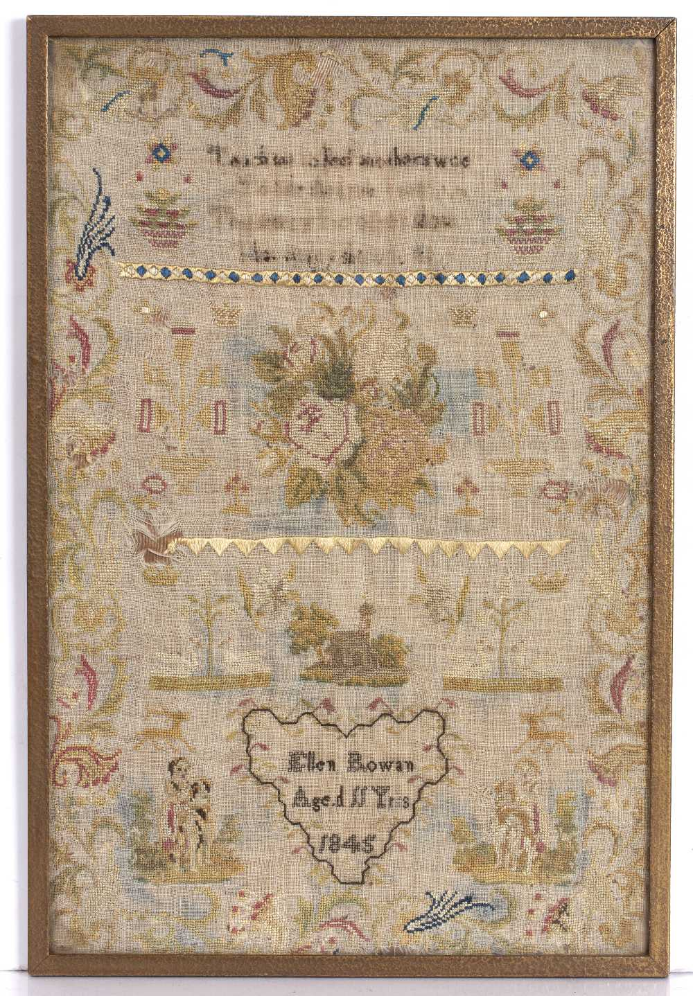 A VICTORIAN NEEDLEWORK SAMPLER by Jane Beach, 1870 in a crossover frame, two further examples and - Image 5 of 8