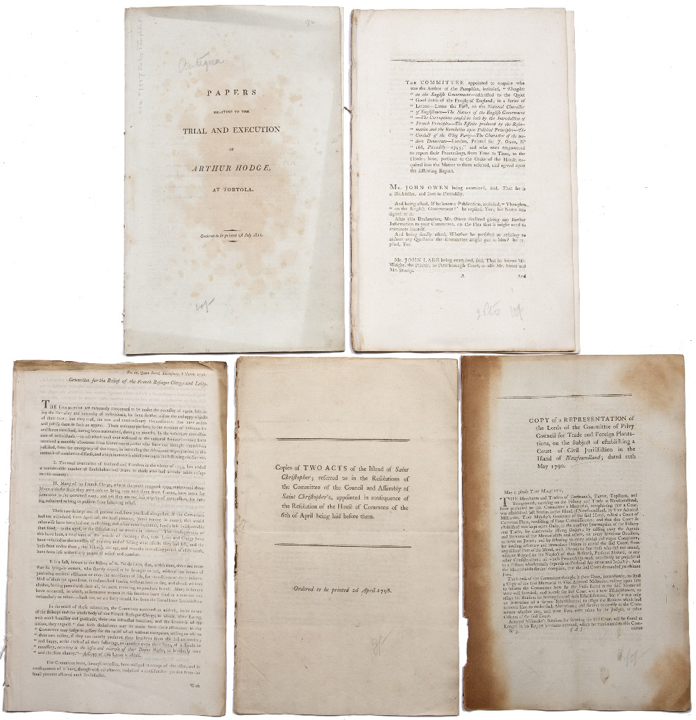 A GROUP OF 4 REPORTS:- Tortola (British Virgin Islands) Papers Relating to the Trial and Execution