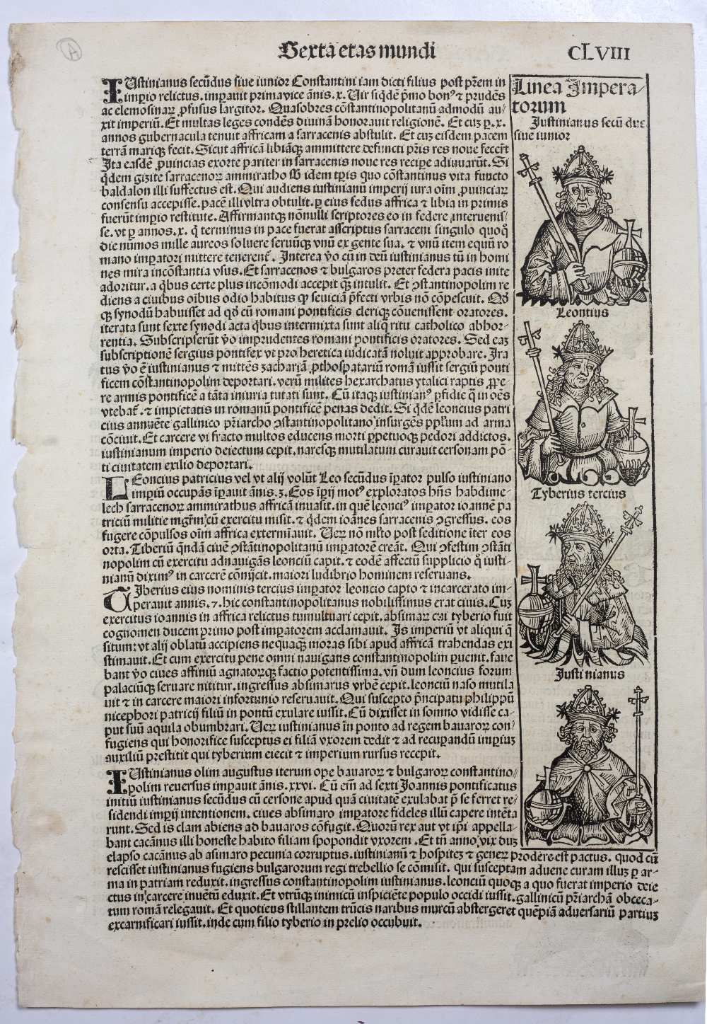 THREE FOLIO DOUBLE SIDED PAGES FROM LIBER CHRONICARUM OR NUREMBERG CHRONICLE headed Serta Etas - Image 3 of 6