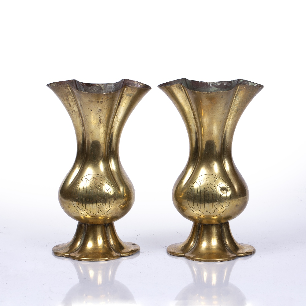 A PAIR OF ARTS AND CRAFTS OR OXFORD MOVEMENT ALTAR VESSELS with quatrefoil rims and bases,