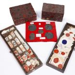 A COLLECTION OF OLD WAX SEALS and two 19th Century boxes with wax sealed exteriors; together with