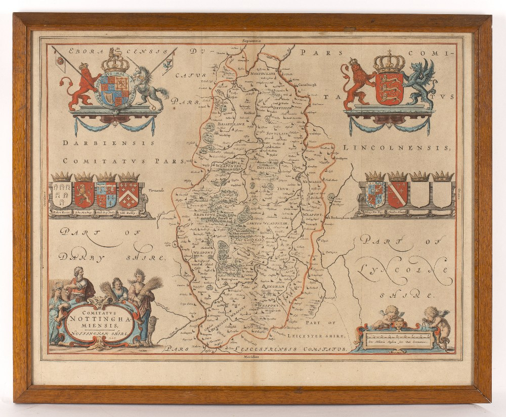 BLAEU Nottinghamshire, engraving with decorative figural title cartouche and armorials, hand- - Image 3 of 3