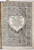 A 16TH CENTURY GENEVA BIBLE lacks Genesis Chapters I-XXVII(pt). New Testament with engraved title