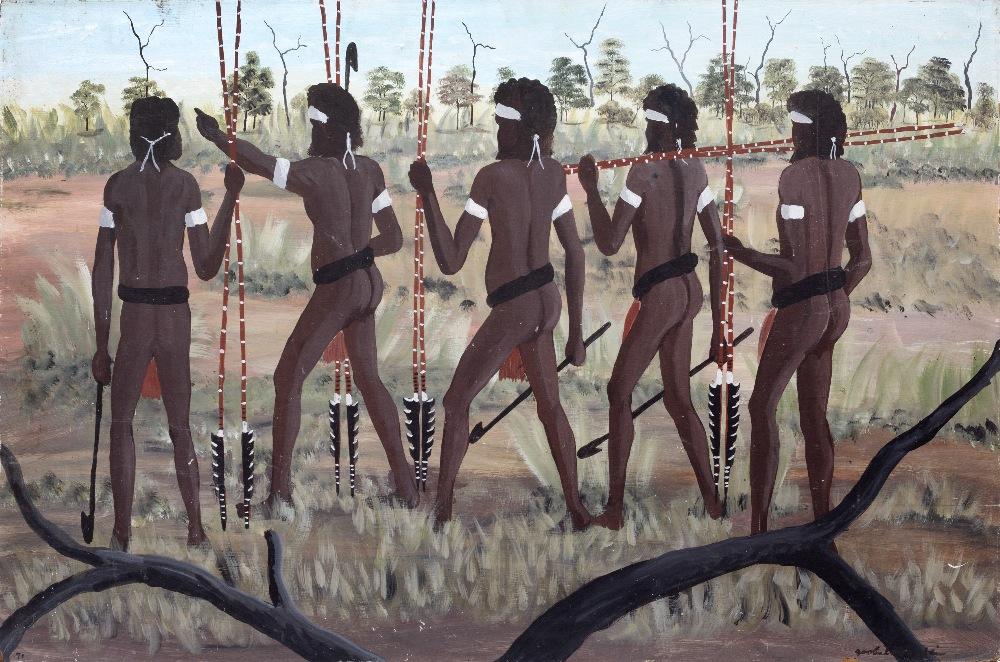 AN AUSTRALIAN ABORIGINAL PAINTING, Queensland, Monington Island 'The War Party', by Dick Roughesy,