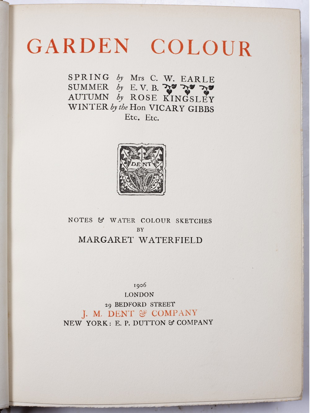 WATERFIELD, Margaret, 'Garden Colour'. J.M. Dent, London 1906. 3rd Ed. with numerous coloured - Image 2 of 3