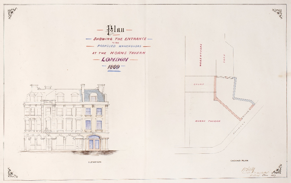A BUNDLE OF SIXTEEN COLOURED ARCHITECTURAL DRAWINGS relating to Alterations and Additions to the