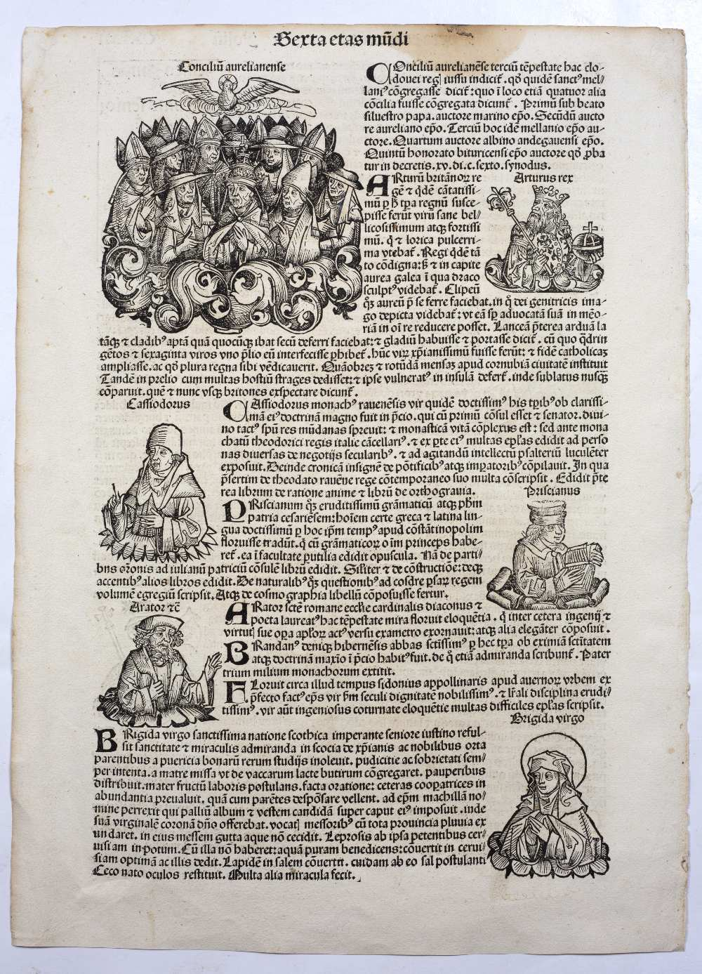 THREE FOLIO DOUBLE SIDED PAGES FROM LIBER CHRONICARUM OR NUREMBERG CHRONICLE headed Serta Etas - Image 5 of 6