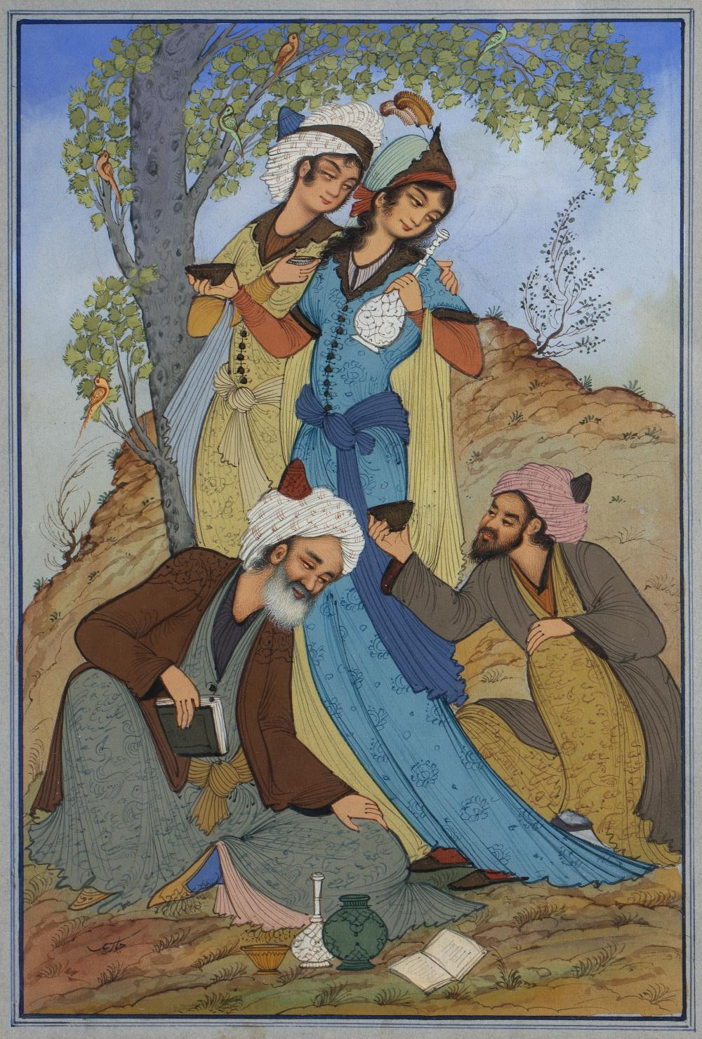 PERSIAN SCHOOL Ädmiring figures proferring gifts to a female beauty in a landscape, watercolour,
