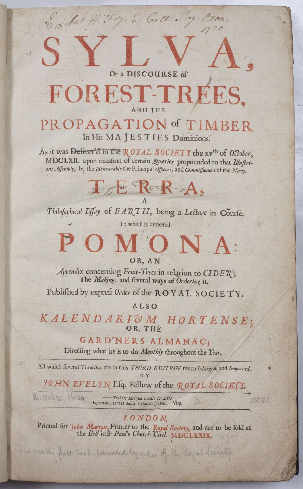 EVELYN, John, Sylva, or a Discourse of Forest Trees and the Propagation of Timber in His Majesties - Image 4 of 4