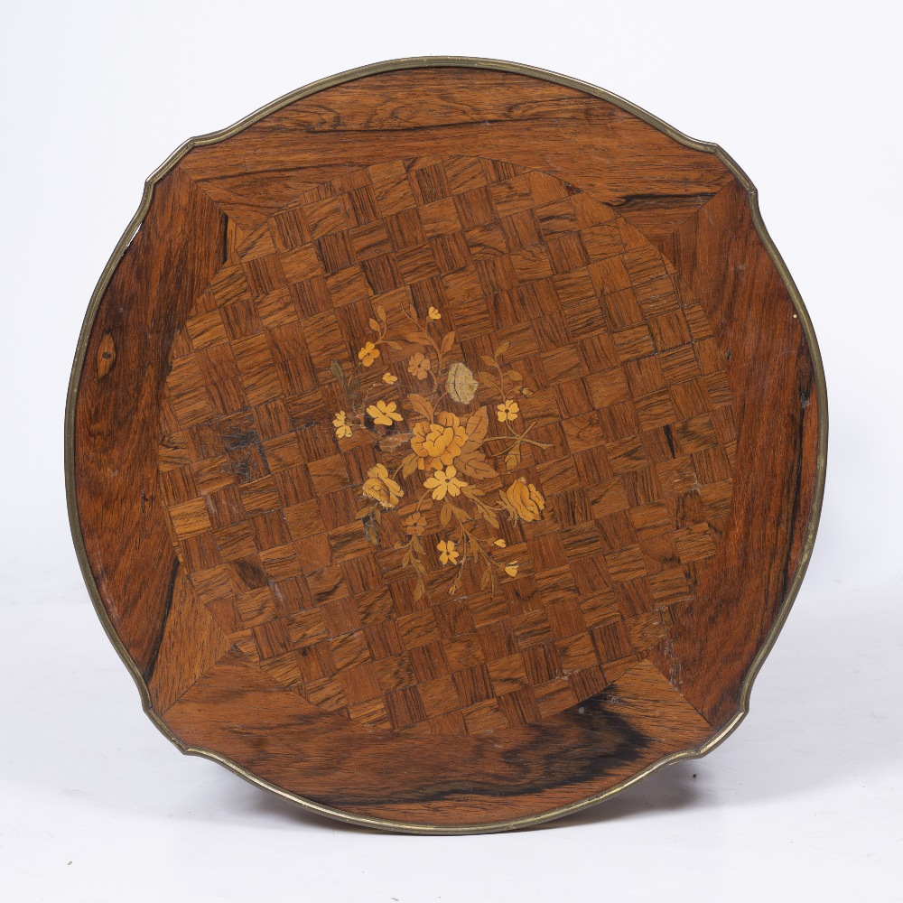 A LOUIS XV STYLE ROSEWOOD AND BEECHWOOD TWO TIER SHAPED CIRCULAR OCCASIONAL TABLE, the top inlaid - Image 4 of 6