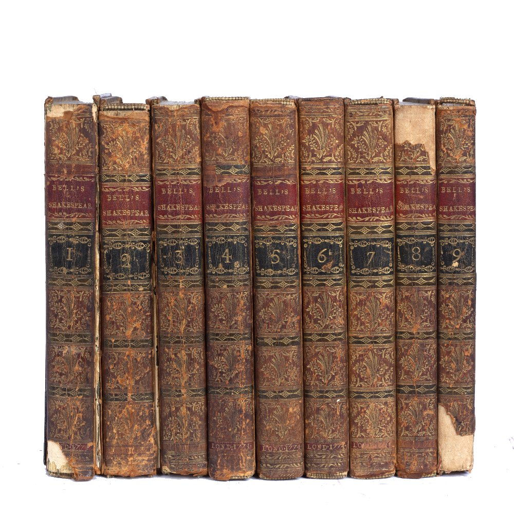 BELL, John, Ed. Shakespeare's Plays and Poems. 9 vols. 8vo. London 1774. with frontispiece