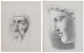 A COLLECTION OF TEN 19TH CENTURY STUDIO CLASSICAL PENCIL DRAWINGS, nine depicting a head study and