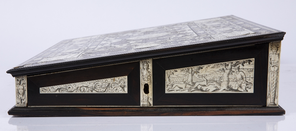 AN 18TH CENTURY ITALIAN ROSEWOOD AND IVORY WRITING SLOPE the top, front, sides and back with - Image 7 of 7
