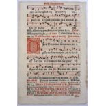 A FOLIO LEAF FROM A 17TH CENTURY VENETIAN GRADUAL containing prayers for the Feast of Saints