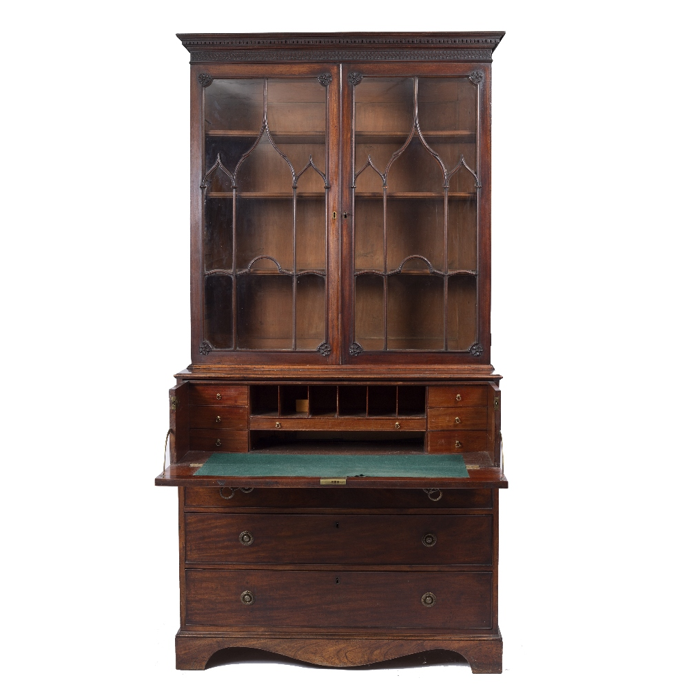 A GEORGE III MAHOGANY SECRETAIRE BOOKCASE, the upper part with a dentil moulded cornice above