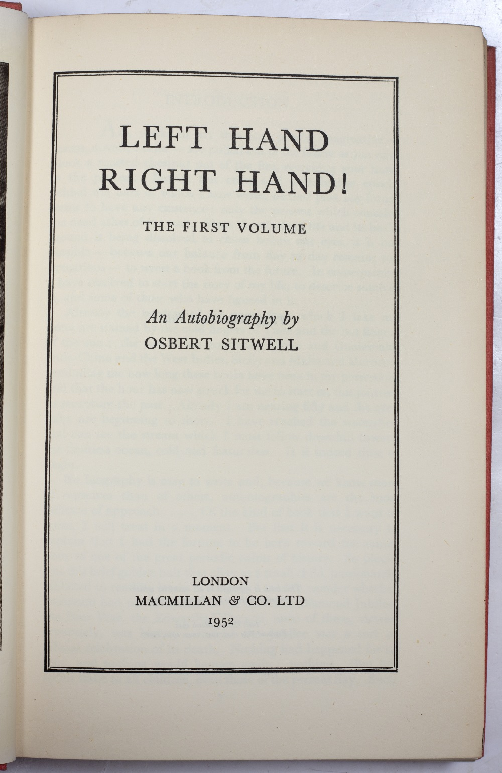SITWELL, Osbert (1892-1969), English Writer Left Hand, Right Hand, An Autobiography in Five - Image 3 of 3