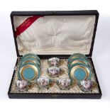 A LATE 19TH CENTURY CONTINENTAL PORCELAIN TEASET comprising six cups and six saucers, the cups
