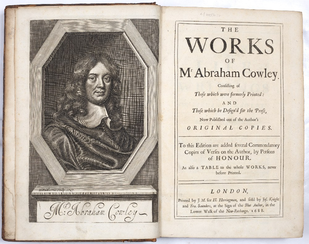 COWLEY, Abraham (1618-1667), English poet The Works thereof printed by J.M. for H Herringman, New