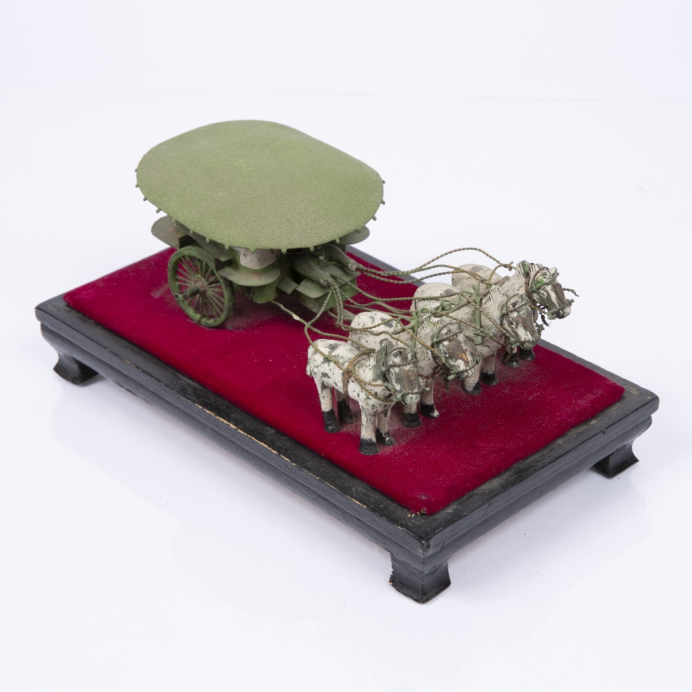 "A CHINESE MINIATURE PAINTED WOOD AND METAL FOUR HORSEDRAWN CARRIAGE mounted on a stand, 8"" long - Image 2 of 4"