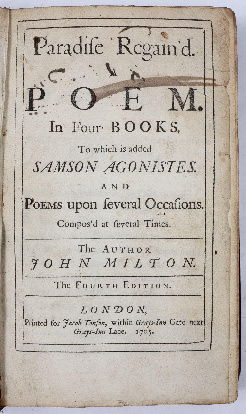 MILTON, John (1608-1674), English Poet 'Paradise Regained'. 4th Ed. Jacob Tonson, London 1705. - Image 2 of 3