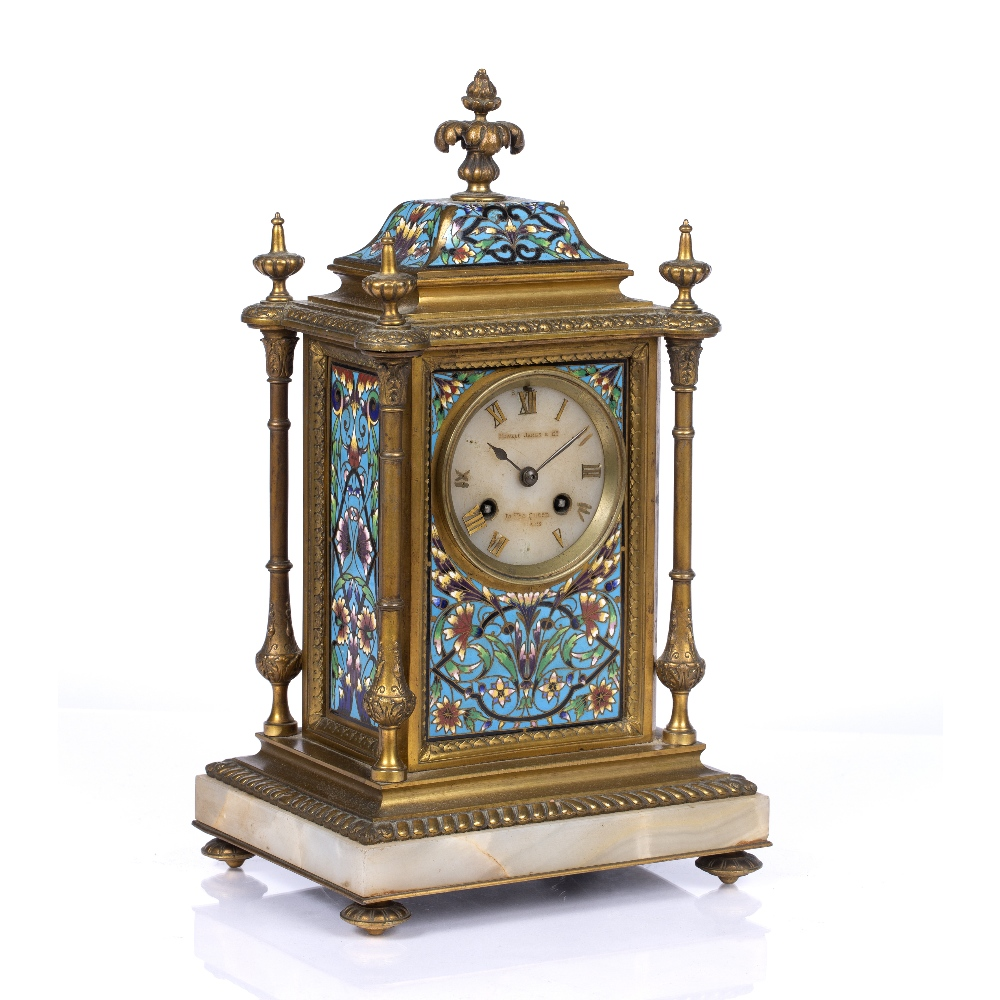 A VICTORIAN GILT BRASS AND POLYCHROME CLOISONNE ENAMEL MANTEL CLOCK the pale agate dial with gilt - Image 2 of 4