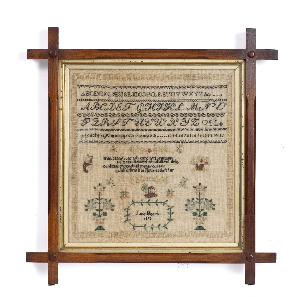 A VICTORIAN NEEDLEWORK SAMPLER by Jane Beach, 1870 in a crossover frame, two further examples and