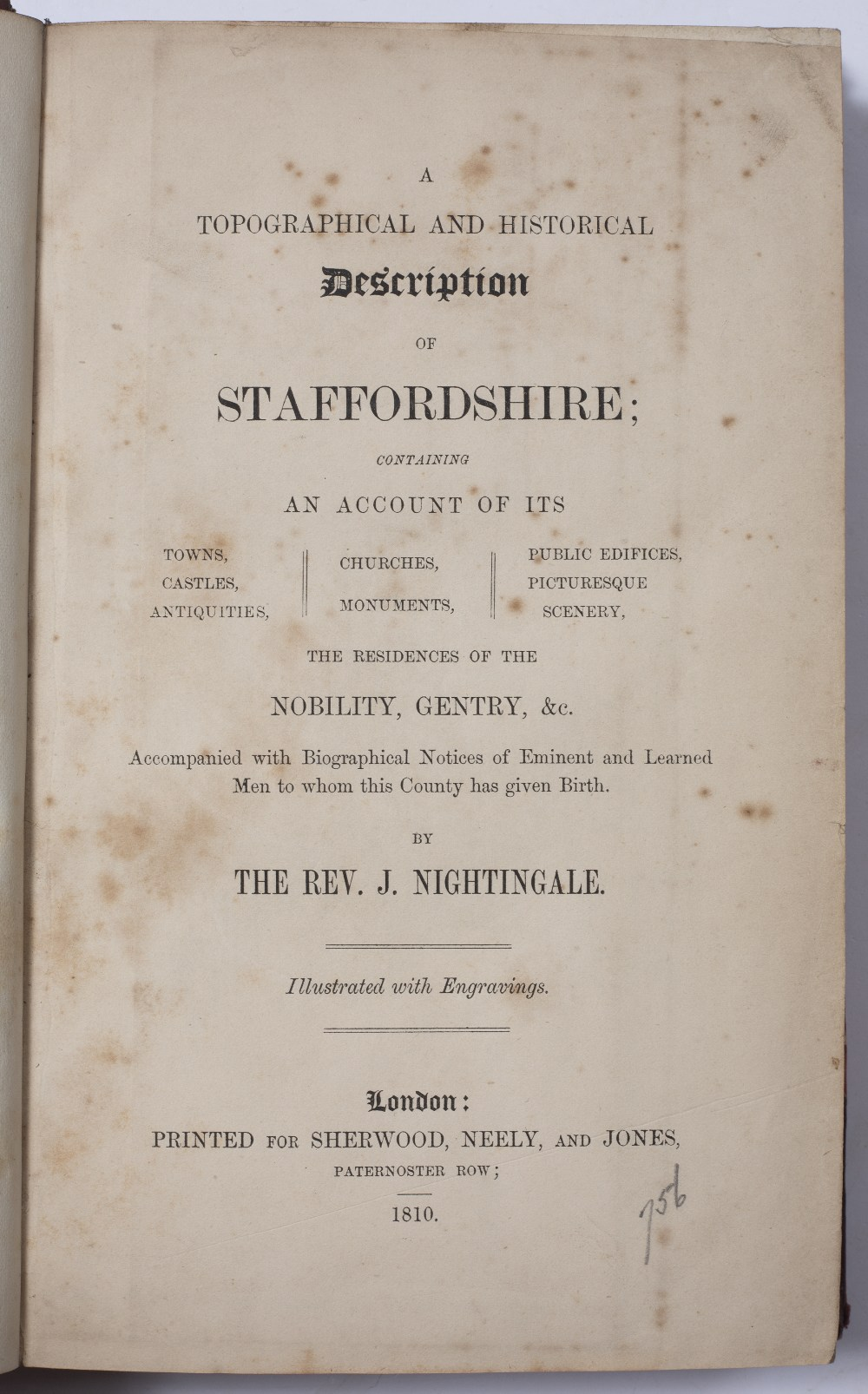 NIGHTINGALE, The Rev. J. A Topographical and Historical Description of Staffordshire. Sherwood, - Image 2 of 3
