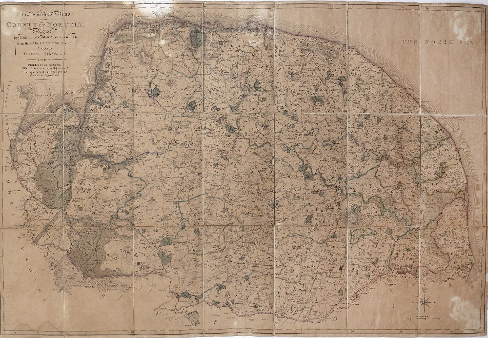 THOMAS MILNE 'A Topographical Map of the County of Norfolk', folding in twenty-one sections