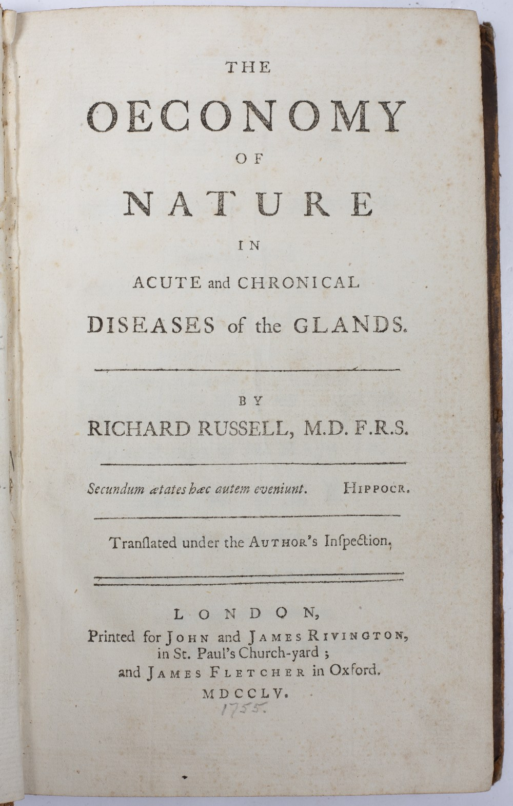 POTT, Percival, FRS and Surgeon at St. Bartholomew's Hospital. 'Some Few General Remarks on
