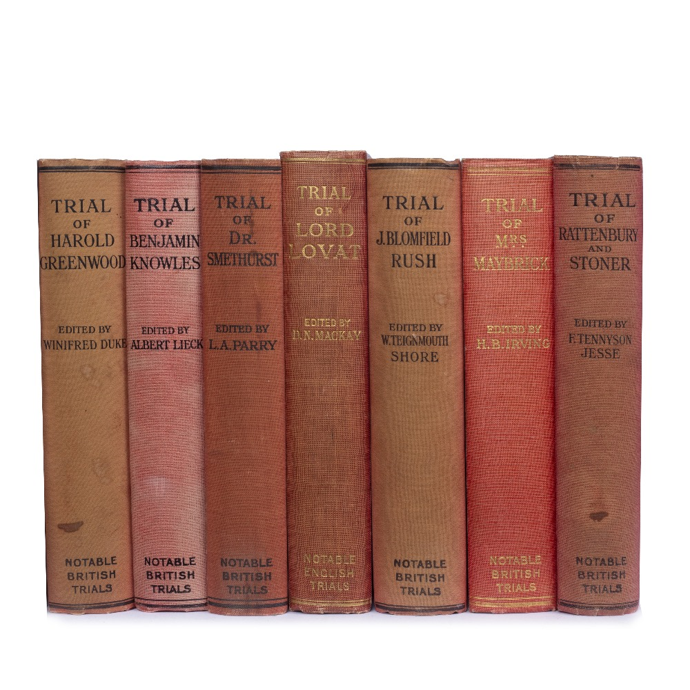 NOTABLE BRITISH TRIALS - 15 vols. 8vo. (220 x 150mm). Red cloth. William Hedge, Edinburgh and London