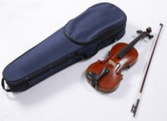 A 20TH CENTURY VIOLIN with two piece back, back length 36cm, with bow,cased