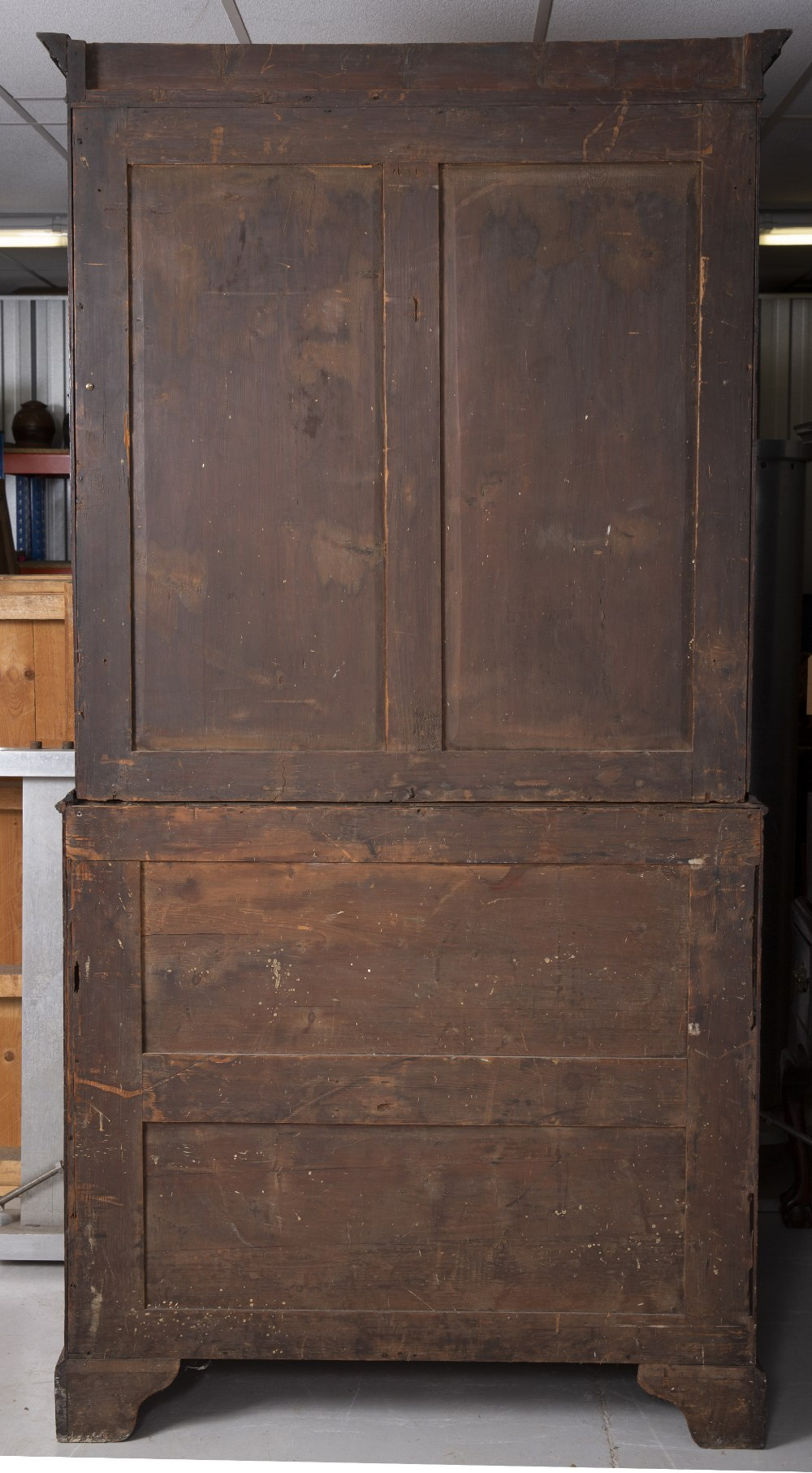 A GEORGE III MAHOGANY SECRETAIRE BOOKCASE, the upper part with a dentil moulded cornice above - Image 5 of 5